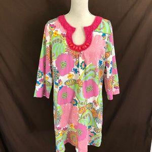 Boden Pink Floral Beaded Tunic Dress 12